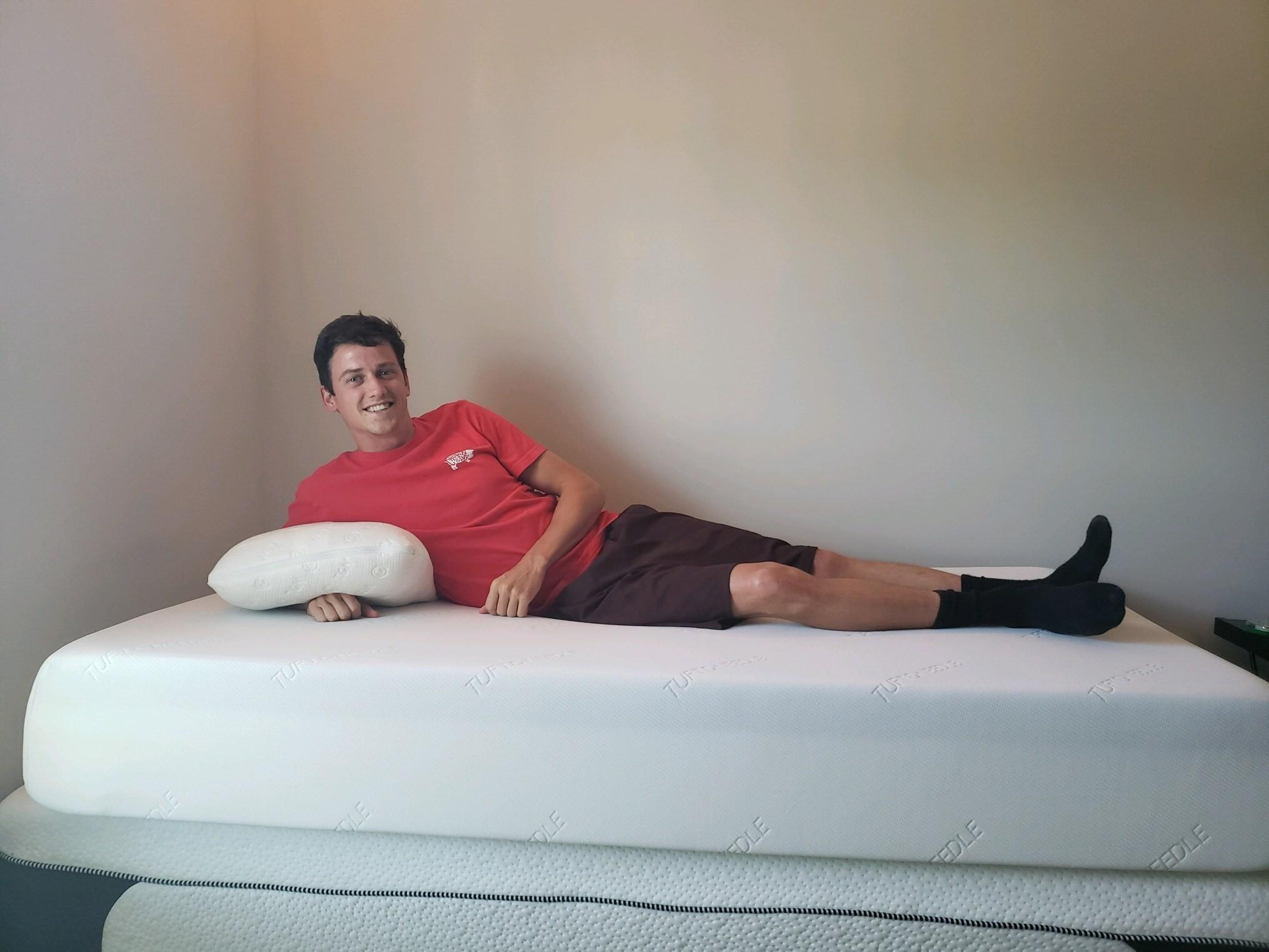Nathan on his Tuft & Needle mattress