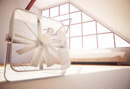 Closeup of fan in bedroom interior