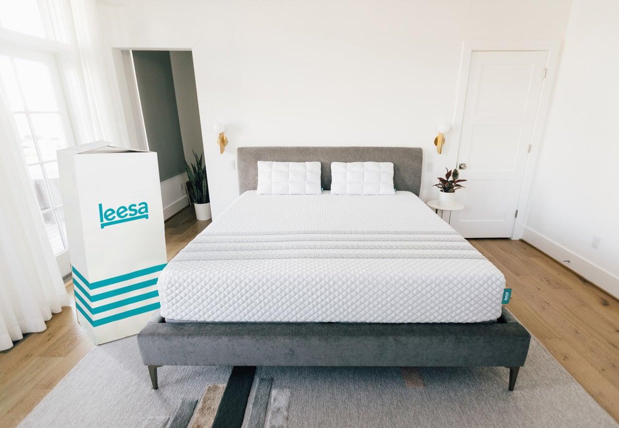 Leesa hybrid mattress in a bedroom