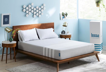 Leesa mattress in a bedroom