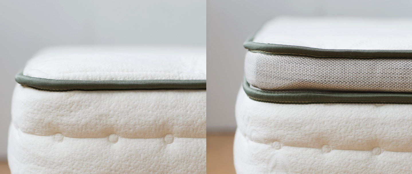 Side-by-side image of pillow-top and standard options for the Avocado mattress