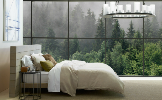 ZenHaven mattress with green tree line in the backdrop