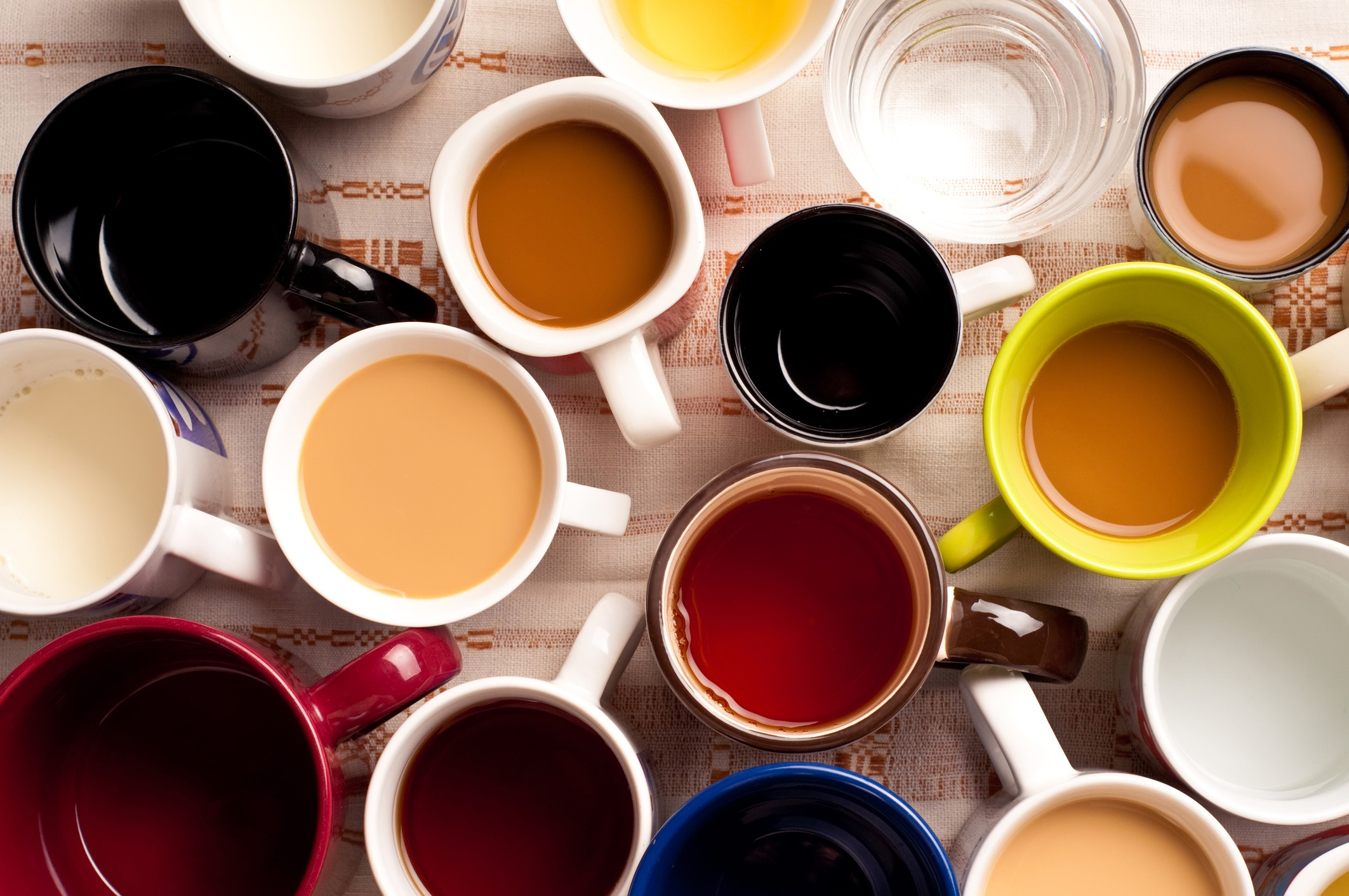Top view of a few cups of beverages