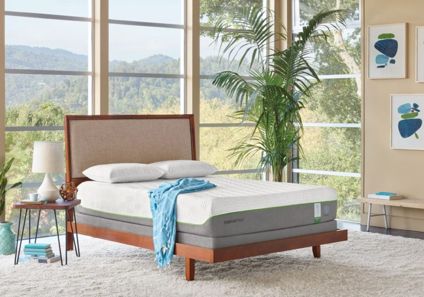 TEMPUR-Flex Supreme Breeze cooling mattress in a bedroom with windows