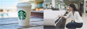 Starbucks cup and lady buying a mattress
