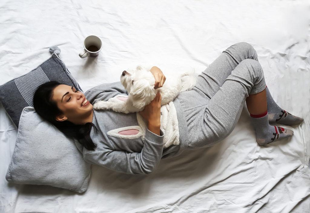 woman in cozy pjs