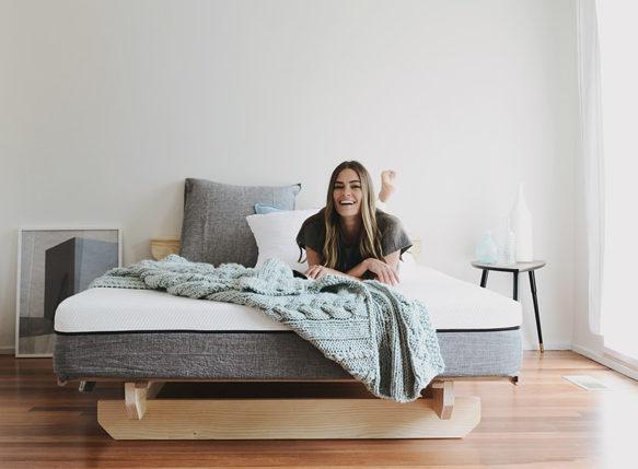 Woman lying on Ecosa mattress