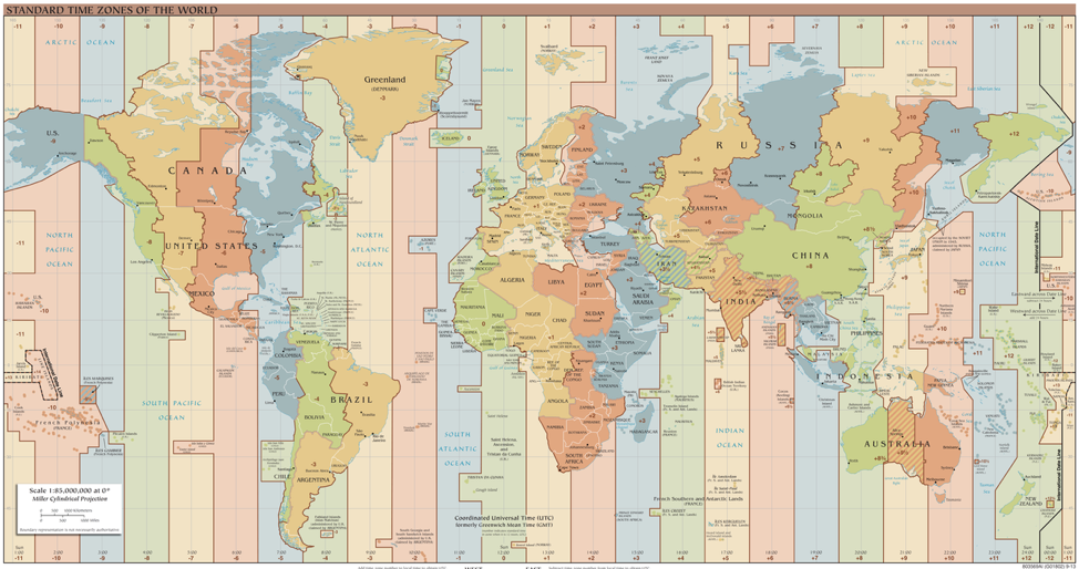 Map of timezones across the world
