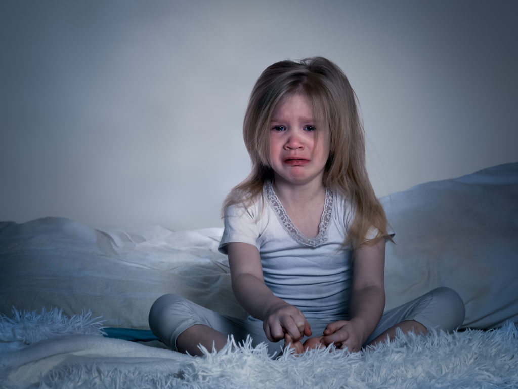 Little girl having a nightmare