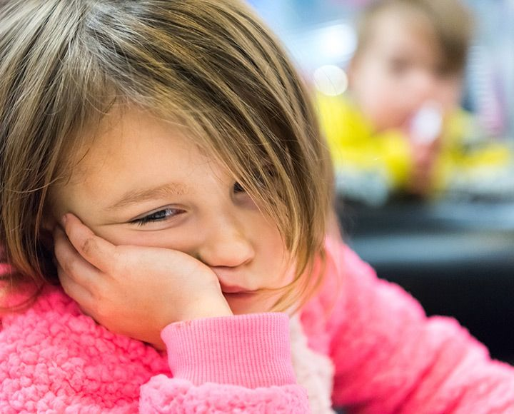 Child tired at school