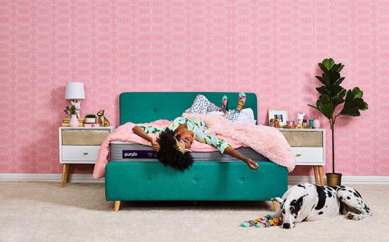 Purple .3 mattress in a bedroom