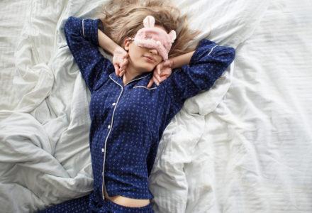 Woman wearing modern pajamas