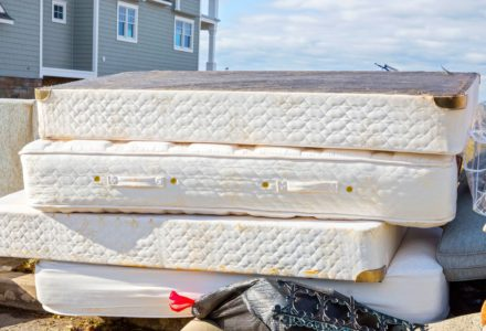 Mattresses put out on the curb as trash