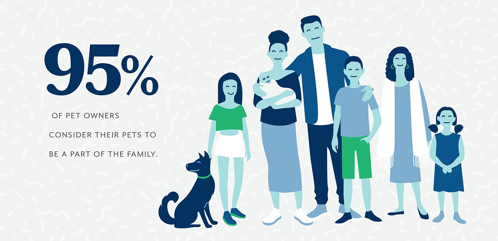 Illustration of family members near pets