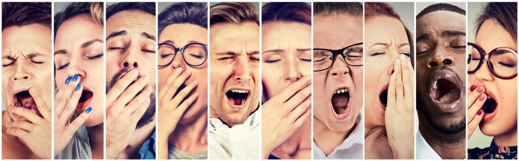 Many people yawning