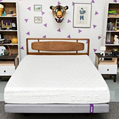 purple mattress in a bedroom