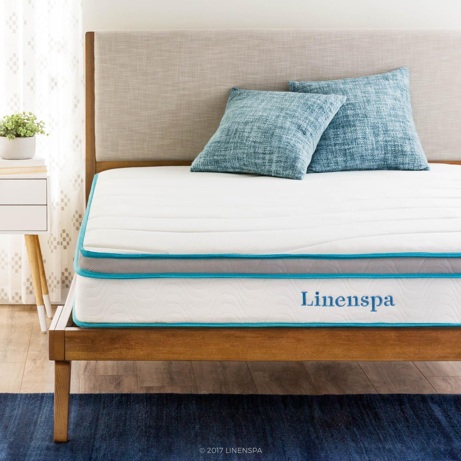 Linenspa Hybrid 8'' mattress in a bedroom