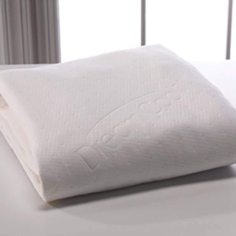 white DreamCool mattress protector by Winkbeds folded on a mattress