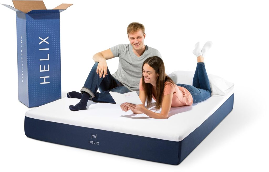 Helix mattress review: couple reviewing the mattress