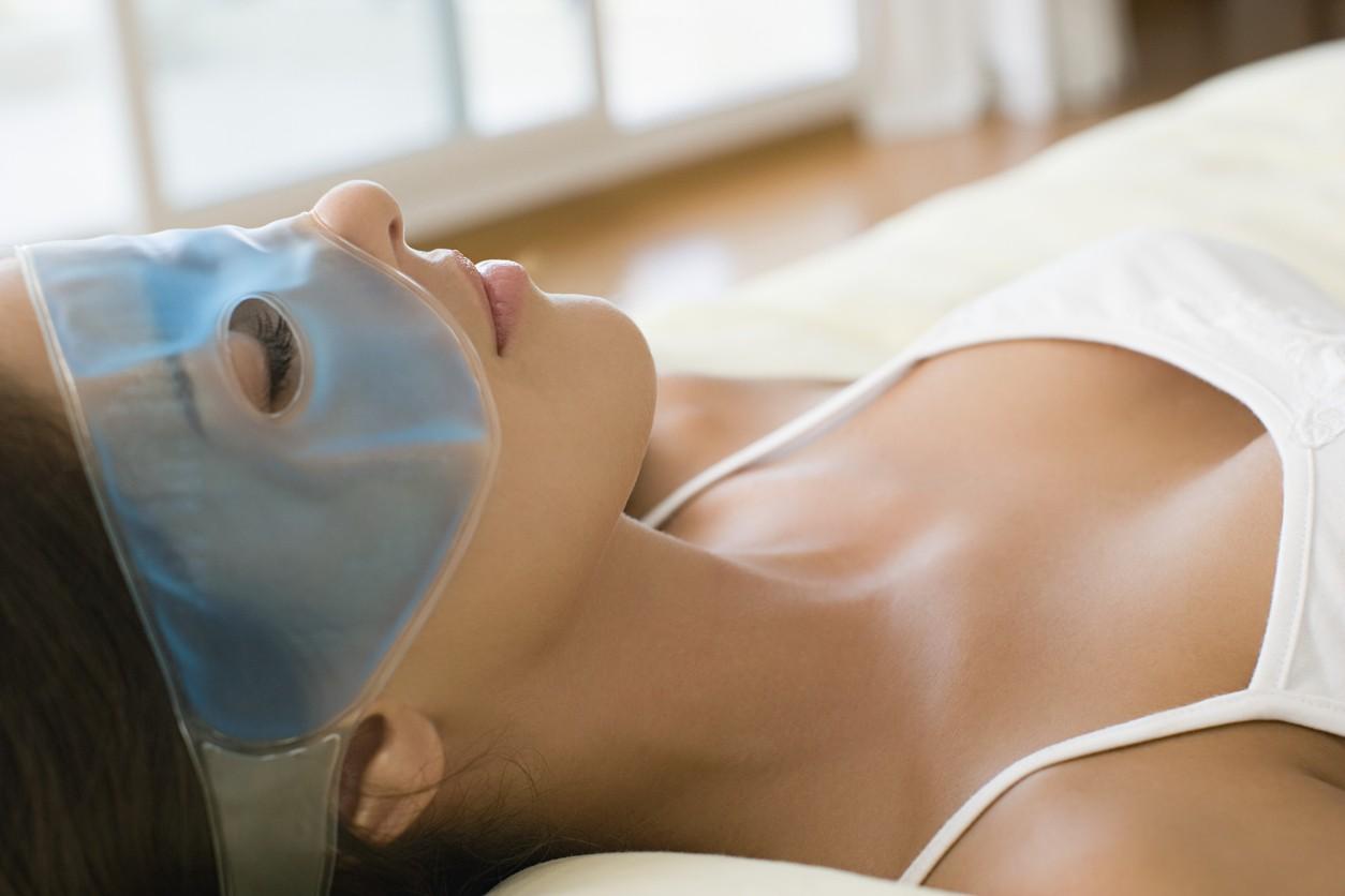 Woman wearing gel eye mask