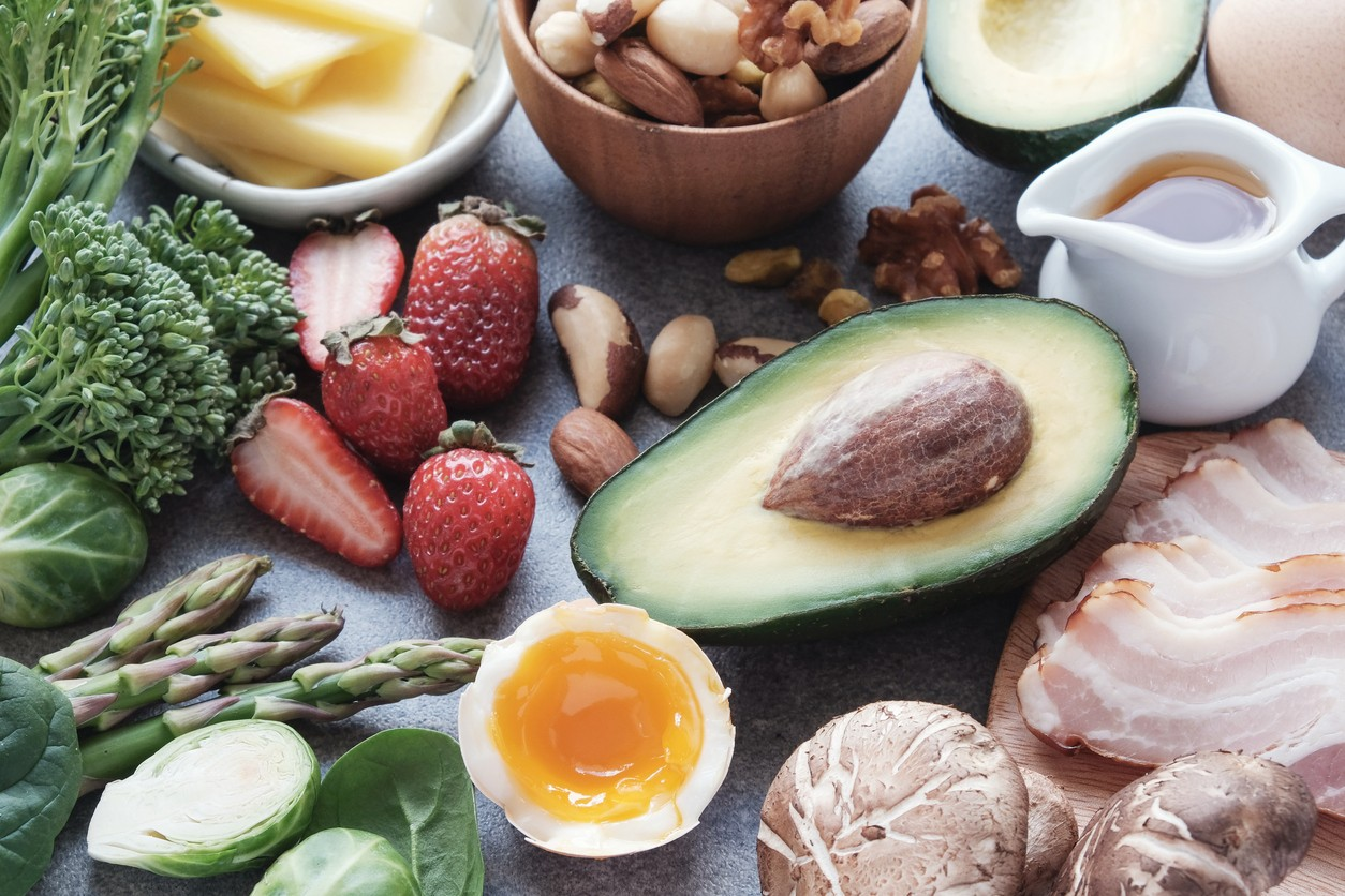 Aerial shot of foods you eat on the keto diet