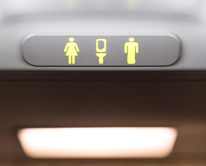Airplane bathroom sign