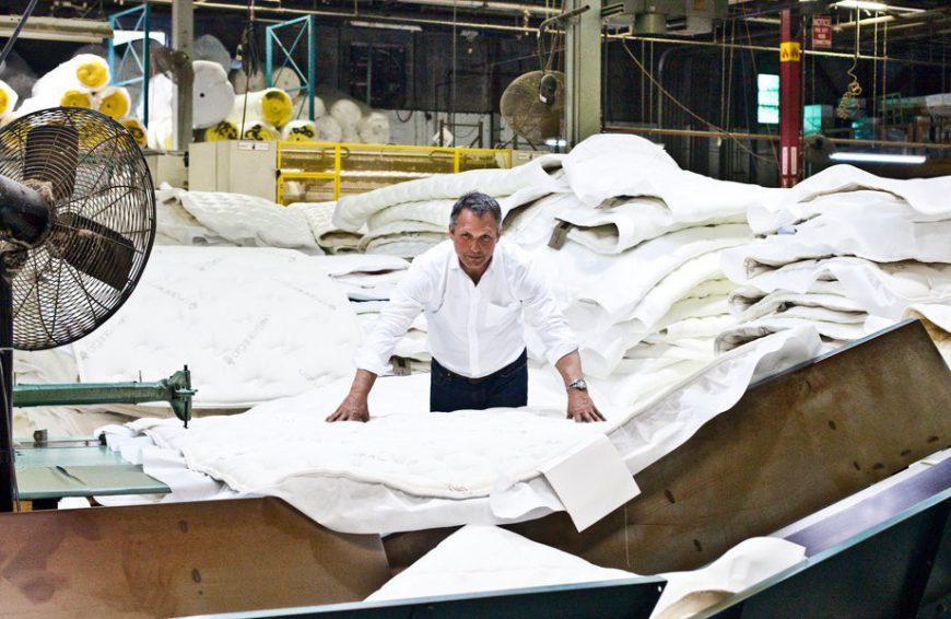 Ron Rudzin, CEO of Saatva in mattress factory