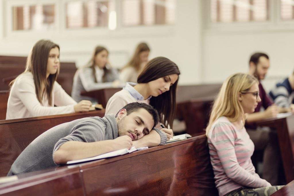 student sleeping class