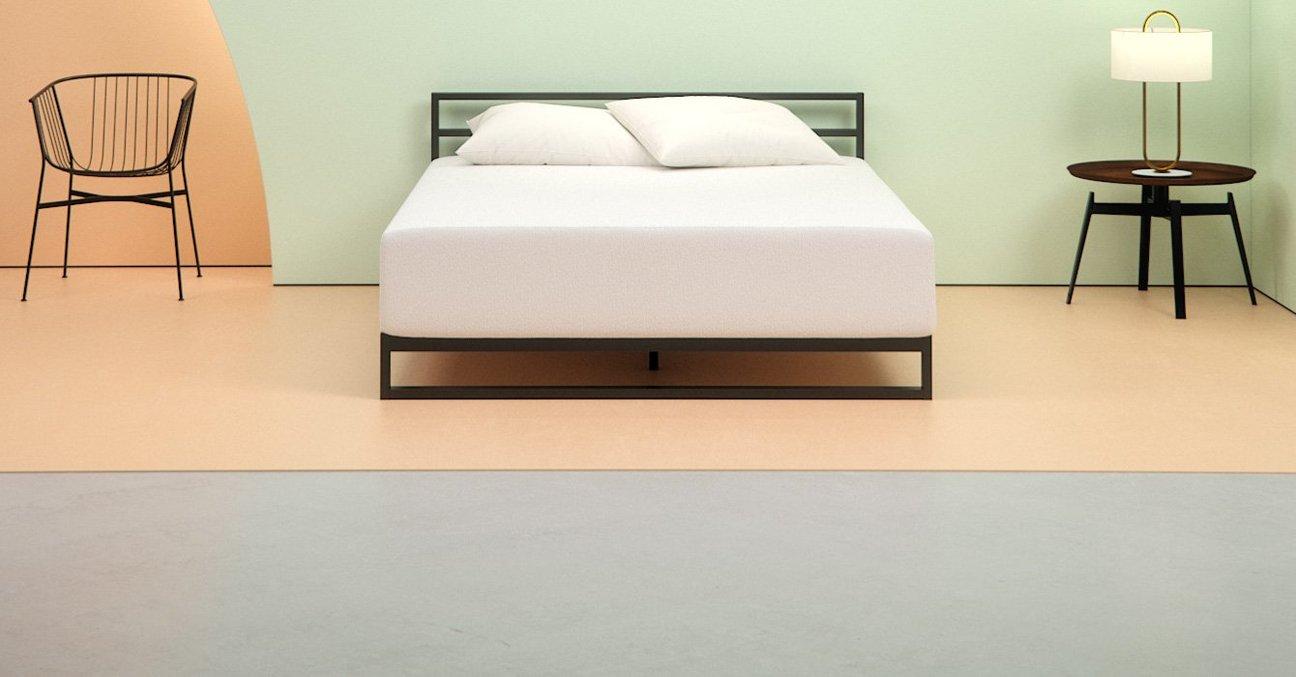 Zinus green tea memory foam mattress in a bedroom