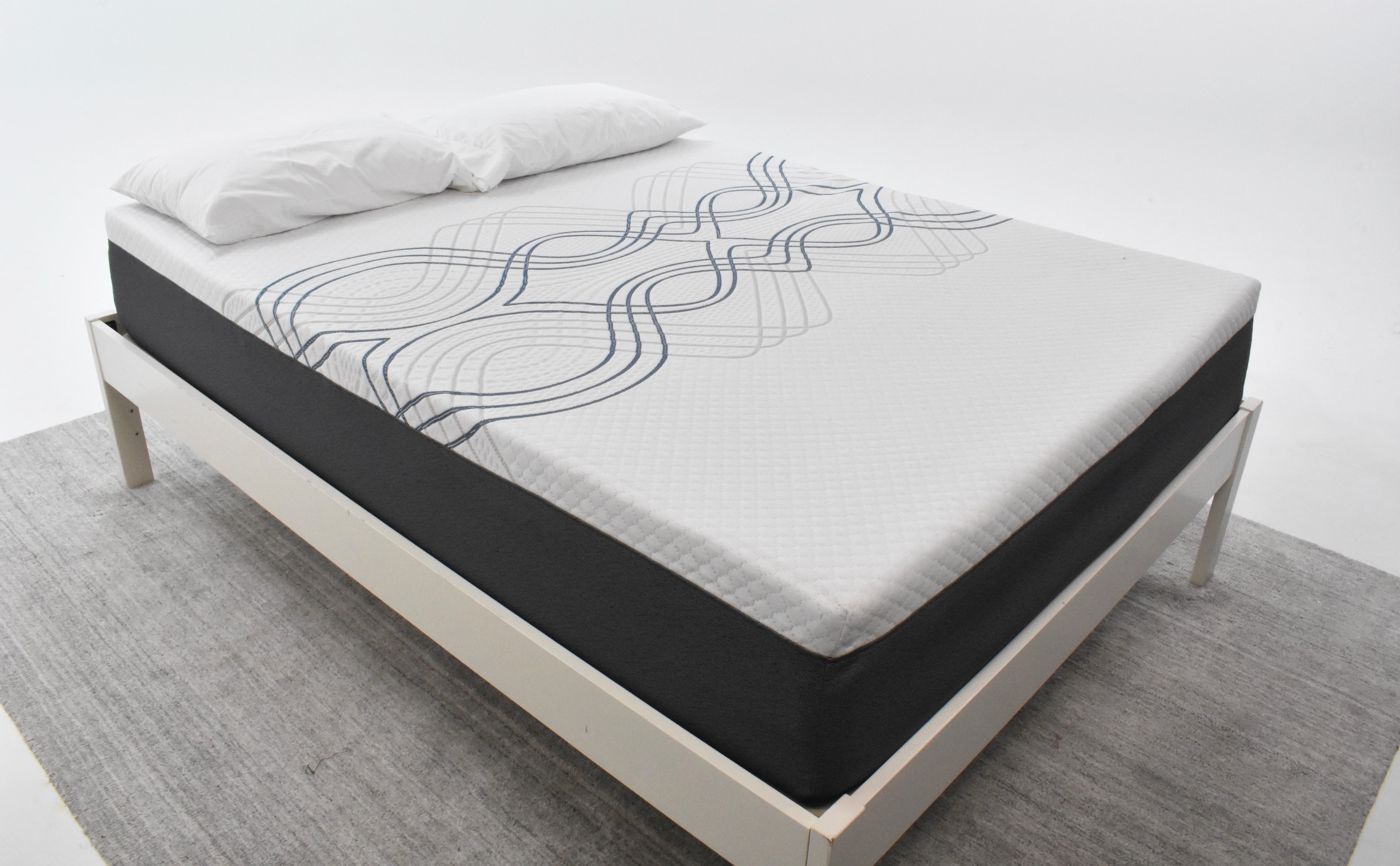 eLuxury hybrid mattress on a bedframe in the mattress lab