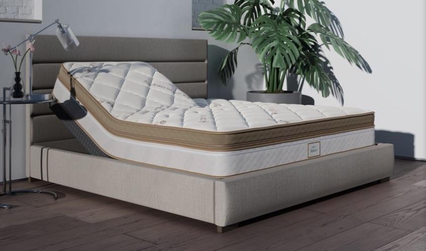 Saatva Solaire mattress in a bedroom
