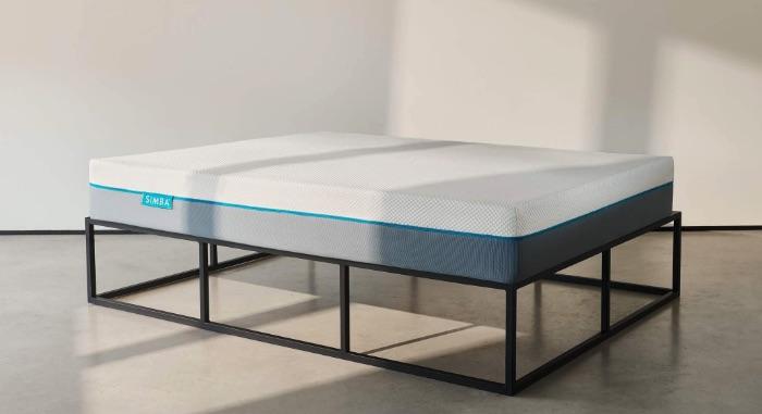 Simba mattress on a metal bedframe