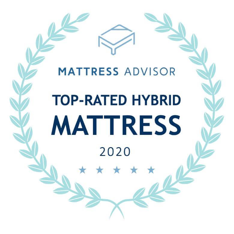 top rated hybrid mattress badge